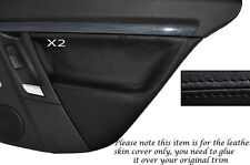 BLACK STITCH 2X REAR DOOR CARD SKIN COVERS FITS VAUXHALL OPEL VECTRA C SIGNUM
