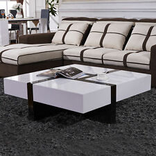 Modern High Gloss White&Black Coffee Table with 4 Drawer Storage Living Room