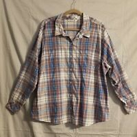 Riders by Lee Women's Blue Check Plaid Button-Up Front Shirt with Pocket Size 4X