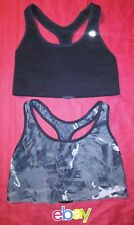 2 PC LOT CHAMPION BLACK & ABSTRACT GRAY COMPRESSION SPORTS BRAS WOMEN SZ M EUC