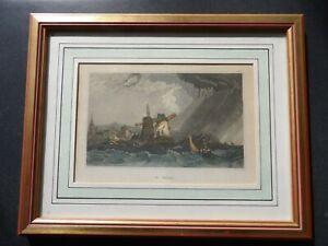Gravure couleur St Malo un jour d' orage par Daut bien encadrée Bretagne XIXe