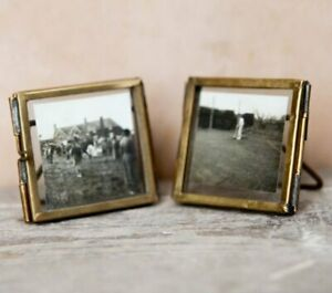 Set of 2 x Nkuku TINY DANTA PHOTO FRAME Antique Style BRASS MINI 5x5cm