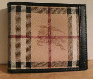 Burberry Check  Bi-Fold Mens Wallet Leather Haymarket Italy NEW