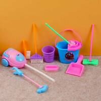 9pc/set  Kids Play House Cleaning Mop Broom Bucket Brush DustpanPretend