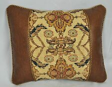 Pillow made w Ralph Lauren Northern Cape Rug Tapestry & Faux Leather Fabric cord