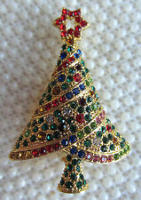 VICTORIAN STYLE CHRISTMAS TREE AUSTRIAN CRYSTAL GOLD TONE BROOCH PIN