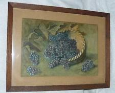 ANTIQUE WATER COLOR PAINTING PICTURE SIGNED DATED 1914 GRAPES MISSION OAK FRAME