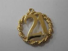 9ct GOLD 21 PENDANT/CHARM   21st BIRTHDAY
