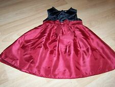Size 3T Perfectly Dressed Christmas Holiday Dress Burgundy Red Black Velour EUC
