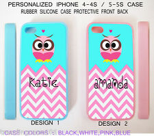 Personalized Pink Blue Chevron Owl Rubber Silicone Case For iPhone 6 6S 5S 5C 4S