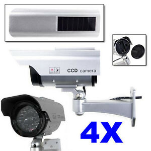 4X Outdoor Fake Dummy Solar Powered Home Security Camera Realistic Appearance