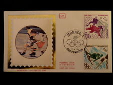 MONACO PREMIER JOUR FDC YVERT  1222/3    HOCKEY + SLALOM SKI     2,30+4F    1980