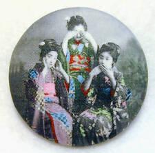 3 Geisha Button Hear No Evil-See No Evil- Speak No Evil FREE US SHIPPING