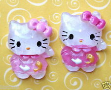 """US SELLER - 10 x (1 1/8"""") Resin Kitty Flatback Beads/Hello w/Fish for Bows SB424"""