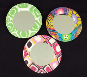 Comforting Clay Handcrafted Pocket Mirror 3 Patterns Colors  NEW Free ship USA