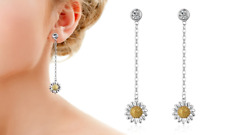 White and Yellow Gold Daisy Drop Earrings Crystals from Swarovski®
