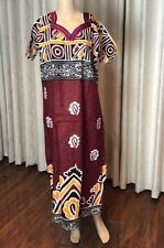 "44"" XL Cotton Nightie Indian Housecoat Ladies Summer Night Dress Maroon B23"