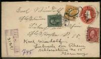 USA 1913 Registered Transatlantic Cover Washington Franklin Germany 95647