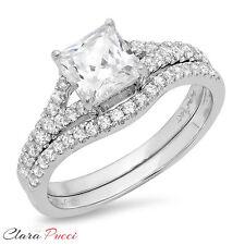 1.96 CT Simulated Princess Cut Engagement Bridal Ring band set 14k White Gold