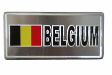 BELGIUM  FLAG-SILVER LICENSED STICKER FLAG PLATE..SIZE: 6 X 3 INCH