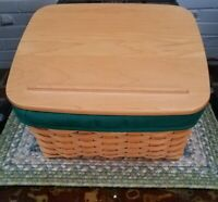 Longaberger Card Keeper Basket with Protector, Liner and Lid 2001