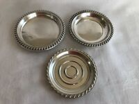 3 STERLING SILVER COASTERS DIFFERENT MAKERS AMERICAN CORNWELL NO MONOGRAMS