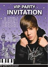 JUSTIN BIEBER VIP PARTY INVITATIONS (8) ~ Birthday Supplies Stationery Invites