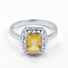 Solitaire with Accents Natural Sterling Silver Fine Rings