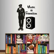 Vinyl Decal Music is Freedom Quote Rock Star Musician Man Wall Sticker 925