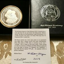 Walt Whitman Commemorative Bicentennial Silver Gift coin limited to 500