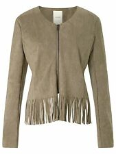 NUMPH WOMENS BASIL SUEDE LOOK TASSEL JACKET IN FOSSIL NEW
