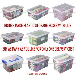 NEW British Made Clear Plastic Storage Box Boxes With Lids CHOICE OF 13 SIZES