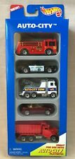 Hot Wheels 1995 Auto-City 5 Vehicle Gift Pack Nrfb Trucks, Fire Police Tow Dump