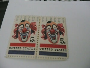 A pair of early unused Circus Clown Stamps 5 cents