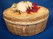 Unique Lidded Basket filled with Genuine Cotton Bolls grown in our garden 7 x 6