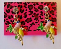 Betsey Johnson Crystal Rhinestone Enamel Post Earrings Bird