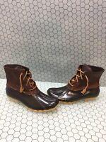 Sperry Top-Sider SALTWATER Brown Leather/Rubber Waterproof Rain Boots Women's 7