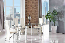 Verona Tempered Glass Dining Room Table & 4 Black Alisa Leather Chairs Ivory