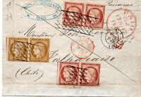 France  Schiffspost Paris-Valparaiso 1852 France Mi. N° 1a(x2)+7a(x4) geprüft