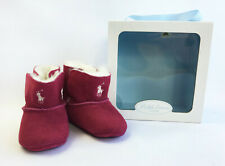 Ralph Lauren Layette Mallor Infant Suede Fur Lined Boots UK Size 2.5 - Hot Pink