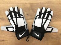 Nike Speedtack Lineman Football Gloves White Black Grey Mens SZ NEW!!