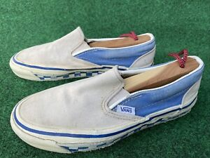 Vtg 70s 80s Vans Off the Wall Blue White Checkered Made In The USA shoes Slip On