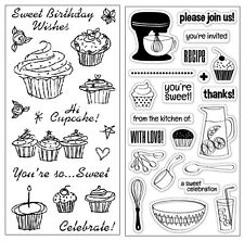 2 Sets Stamps - Birthday Cupcakes, Kitchen Tea, Birthday Wishes, Cooking, Baking