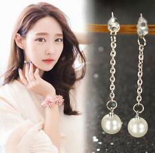 SILVER TONE DROP CHAIN WITH WHITE FAUX PEARL & DIAMANTE CRYSTAL EARRINGS