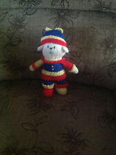 "Brand new hand knitted ""Jester Puppy"" 10"" high"