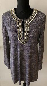 TORY BURCH 100% Silk Beaded Dot Tunic Blouse XL