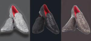 Mens Shoes Diamond Glitter Disco Sparkling Slip-on Loafer Party Wedding
