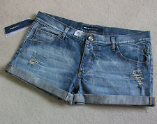 BNWT Miss Sixty en jean effet vieilli Boy Fit Shorty Shorts Avec Turn-Up Siz 33 UK12