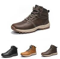 Mens Outdoor Casual Sneakers Non-slip Leather High Top Breathable Trainers Shoes