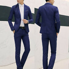 Men Formal Wedding Bridegroom Suit One Button Fit Jacket Tuxedos Coat Pants Plus